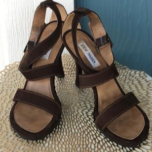 Steve Madden Chocolate Brown Suede Cross-Straps